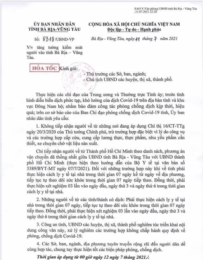 Bà Rịa - Vũng Tàu: Tăng cường kiểm soát người về từ nơi đang áp dụng Chỉ thị 16
