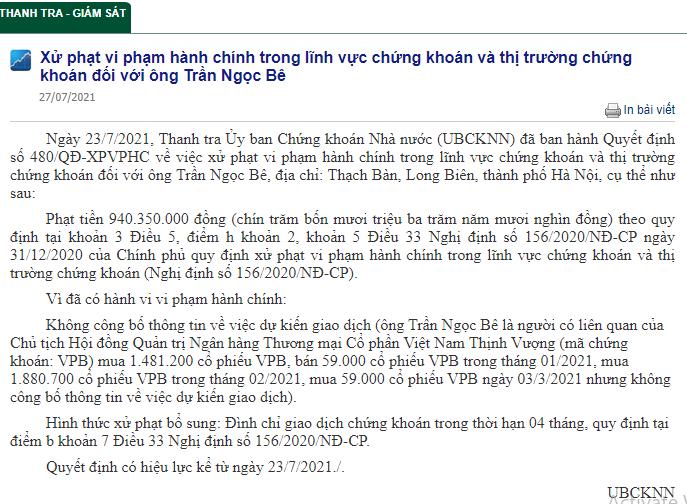 Thông tin về việc xử phạt vi phạm hành chính trong lĩnh vực chứng khoán và thị trường chứng khoán đối với ông Trần Ngọc Bê