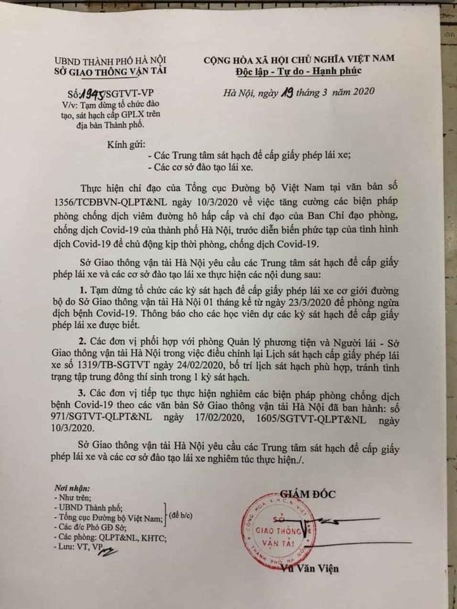 Hà Nội yêu cầu tạm dừng tổ chức thi cấp bằng lái xe - 2
