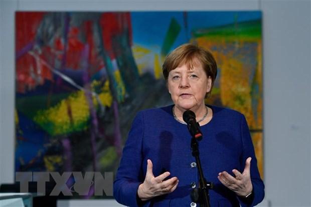 Thủ tướng Đức Angela Merkel phát biểu tại cuộc họp về ảnh hưởng của dịch COVID-19 tới kinh tế và xã hội ở Berlin, ngày 13/3. (Ảnh: AFP/TTXVN)