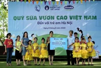 Quỹ sữa Vươn cao Việt Nam và Vinamilk trao tặng 120 nghìn ly sữa cho trẻ em Hà Nội