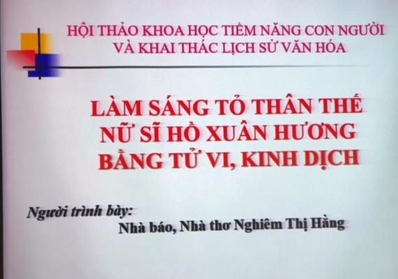 Đề tài: Làm sáng tỏ thân thế nữ sĩ Hồ Xuân Hương bằng tử vi, kinh dịch