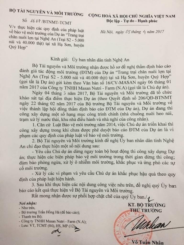 Văn bản của Bộ TNMT về vi phạm của Masan