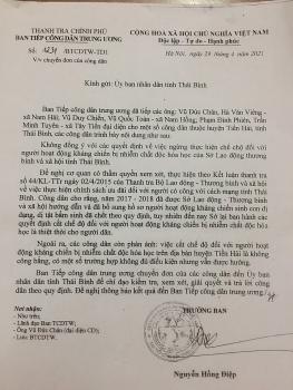 Ban Tiếp công dân Trung ương yêu cầu UBND tỉnh Thái Bình xem xét việc cắt chế độ da cam của các cựu chiến binh