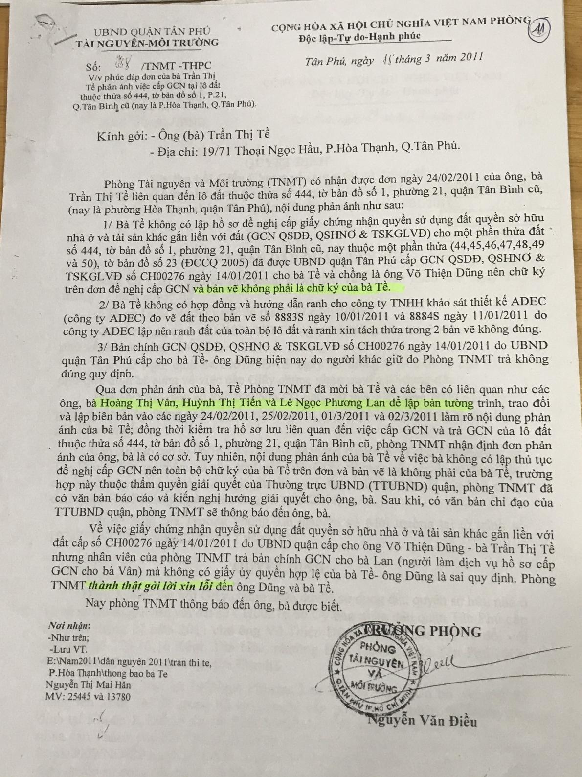 Quận Tân Phú, TP Hồ Chí Minh: 10 năm chưa giải quyết dứt điểm đơn của bà Trần Thị Tề?