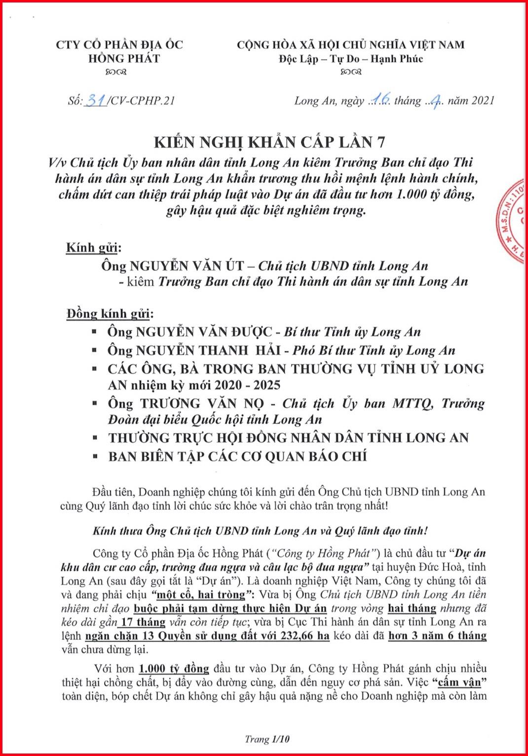Phó Thủ tướng Thường trực Trương Hoà Bình chỉ đạo các bộ, ngành xem xét, giải quyết kiến nghị của Công ty Hồng Phát