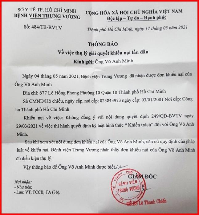 Bệnh viện Trưng Vương, TP.Hồ Chí Minh: Ban hành quyết định kỷ luật khi chưa có kết luận của cơ quan chức năng