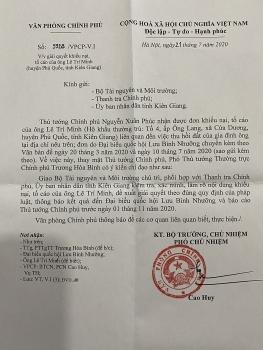 Viết tiếp vụ ông Lê Trí Minh tố cáo Chủ tịch UBND huyện Phú Quốc: Phó Thủ tướng Trương Hòa Bình chỉ đạo giải quyết, báo cáo Thủ tướng Chính phủ