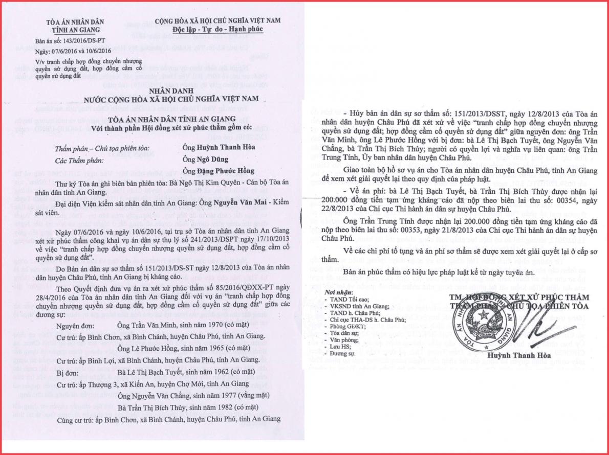 TAND huyện Châu Phú, tỉnh An Giang: Nhiều dấu hiệu xét xử không khách quan