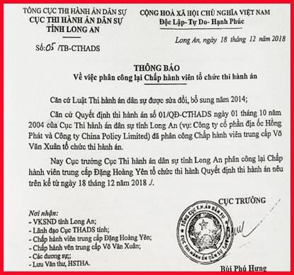 """Khẳng định """"Phán quyết Trọng tài không thực hiện được"""", Cục trưởng Cục THADS tỉnh Long An vẫn cố tình làm trái? (Tiếp theo)"""