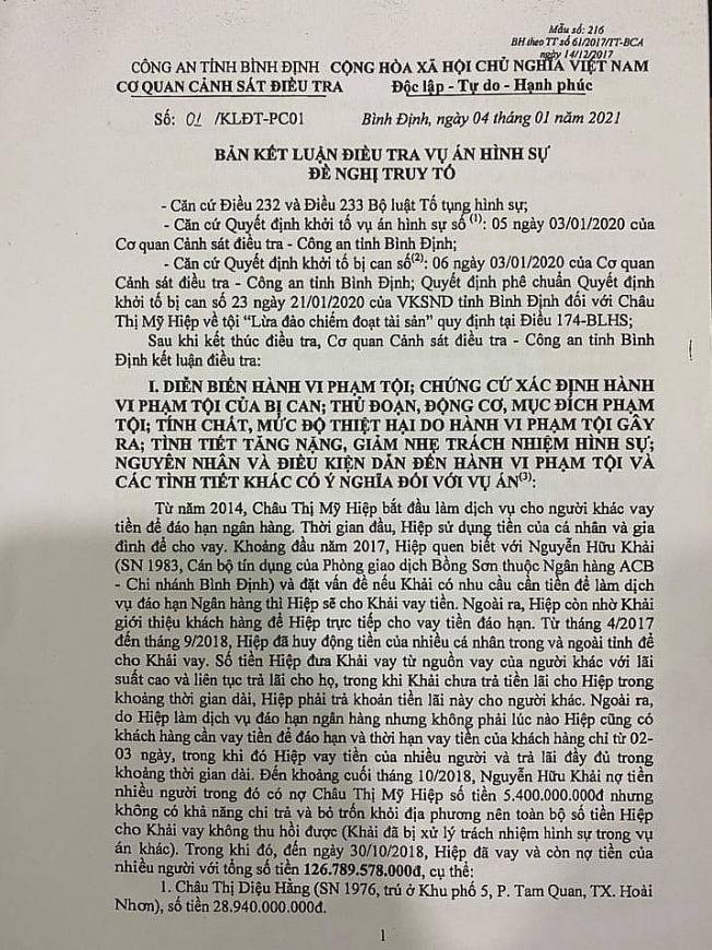 Vụ Châu Thị Mỹ Hiệp, ở tỉnh Bình Định bị truy tố tội Lừa đảo chiếm đoạt tài sản:  Cần xác định đúng tư cách người tham gia tố tụng